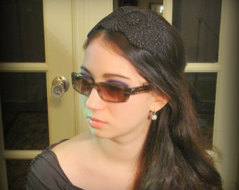 Handmade Headband for Women, Black Lace, Black Leather, Hair Accessories