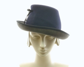 Not-a-FEDORA / Blue & Gray Vintage Style Hat / Handmade by Marcia Lacher Hats