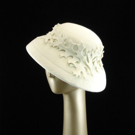 Handmade Cloche Felt Hat in Winter White Fur Felt with Hand Cut Oak Leaves - The Millinery Shop