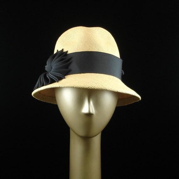 Lauries Panama Straw hat  Fedora with Dark Blue Ribbon