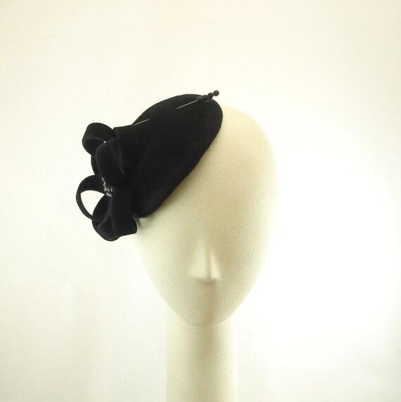 Black Fascinator Felt Evening Hat Fur Felt Dress Hat - The Millinery Shop