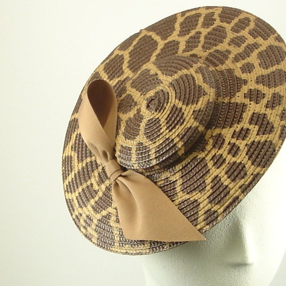 Straw Saucer Hat  for Women -1920s Fashion Fascinator Hat - Brown Hand Painted Animal Print
