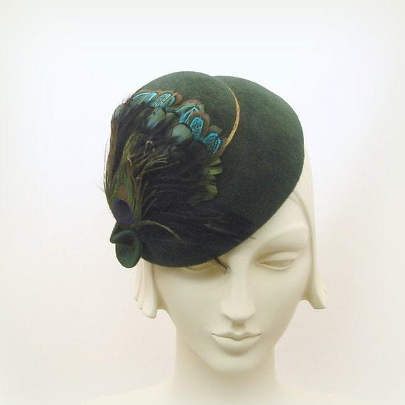 Green Felt Dress Hat For Women 1940s 1950s Style Toy Hat