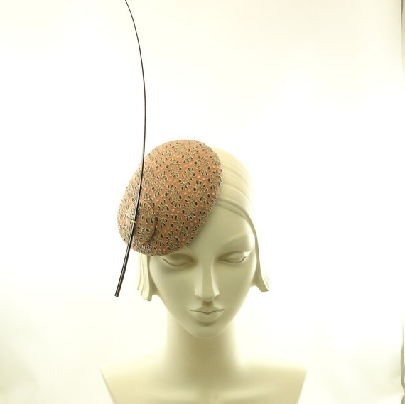 Fascinator Hat for Women - Handmade Cocktail Hat - Salmon Gold & Brown