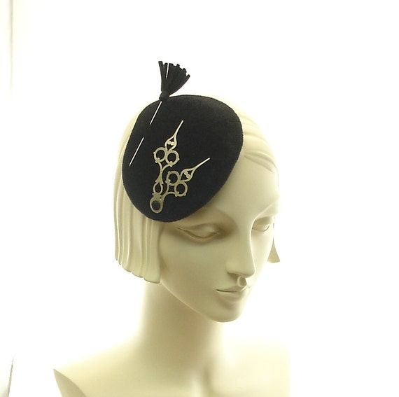 Black Fascinator Hat for Women - Avant Guarde Cocktail Hat - Clockhands Small Hat