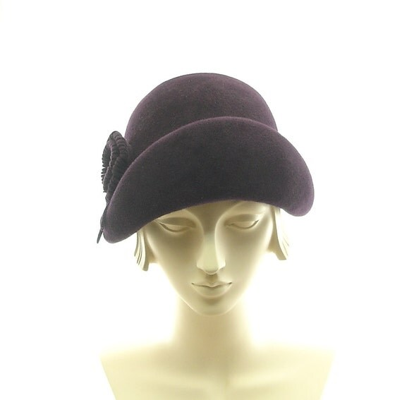 Aubergine Cloche Hat for Women Edwardian Fashion Hat Eggplant Purple