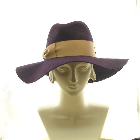 wide brim womens fedora hat felt winter hat aubergine