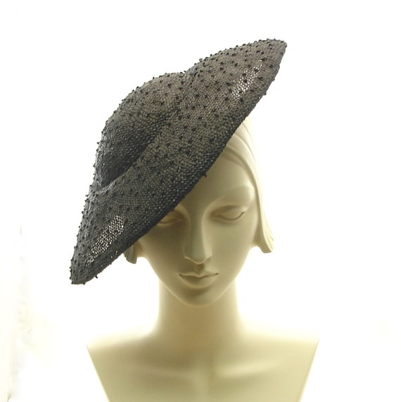 Black Knotted Sisal Straw Hat - Saucer Hat for Women  - 1940s Style - New Handmade Fashion