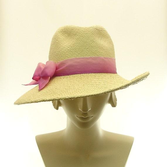 Wide Brim Hat for Women - Straw Hat Fedora Hat - Natural Montechristi