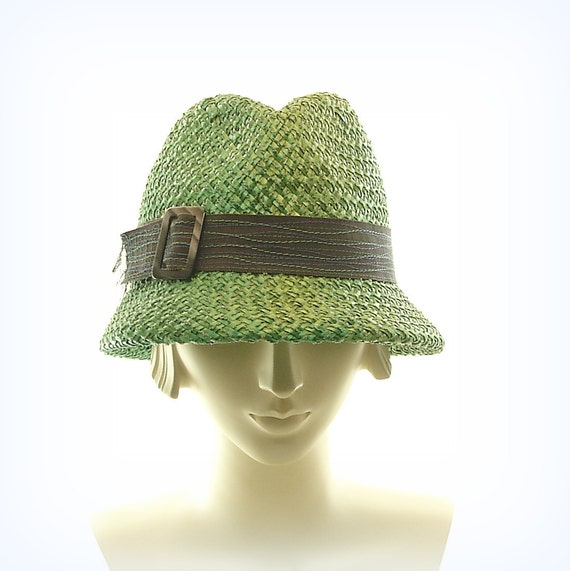 Bottle Green Fedora Hat - Vintage Style Straw Hat