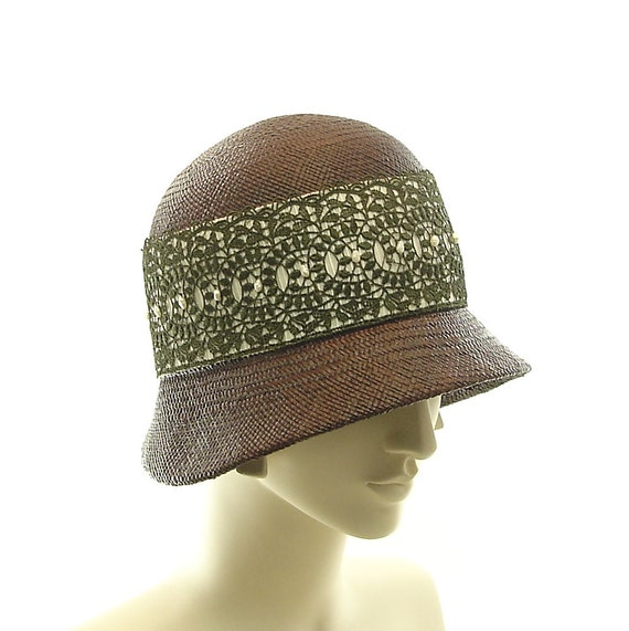 Brown CLOCHE HAT  / 1920s Vintage Style Panama STRAW Hat / Handmade by Marcia Lacher Millinery
