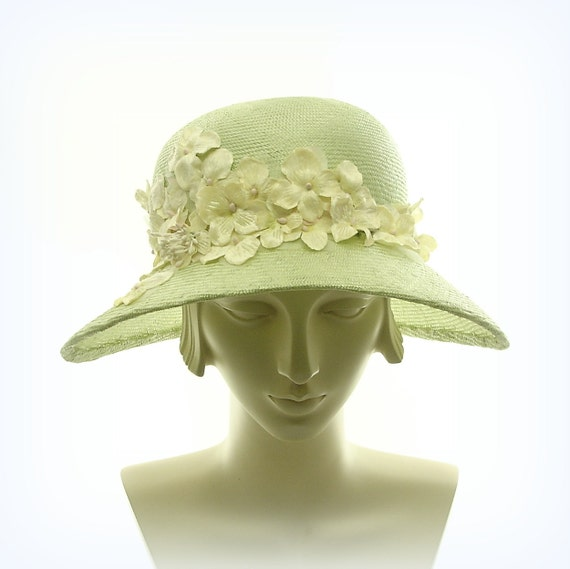 Summer Hat - Wide Brim Hat for Women - 1920s Fashion Hat - Light Green Straw Hat - Vintage Flowers