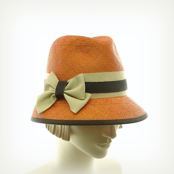 Orange Womens Fedora Hat - Panama Straw Hat - Sun Hat