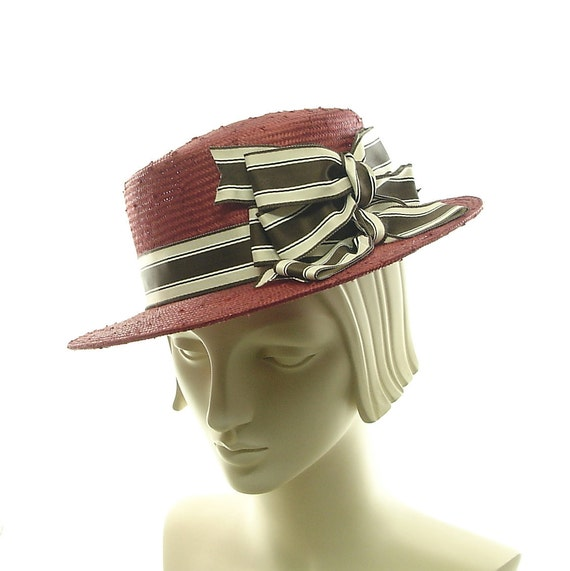 Red Straw Hat - Summer Boater Hat  for Women