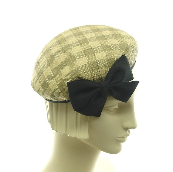 Tan & Off White PILLBOX HAT / 1940s Fashion / Plaid Straw Hat / Handmade by Marcia Lacher Millinery