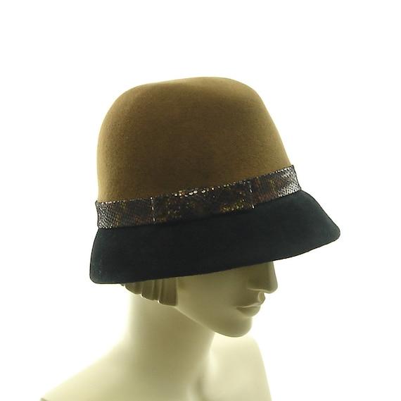 Art Deco Fedora Hat for Women -1950s Vintage Style Hat - Black & Brown