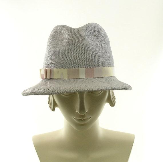 Light Blue Straw Fedora Hat for Women - Panama Straw Sun Hat