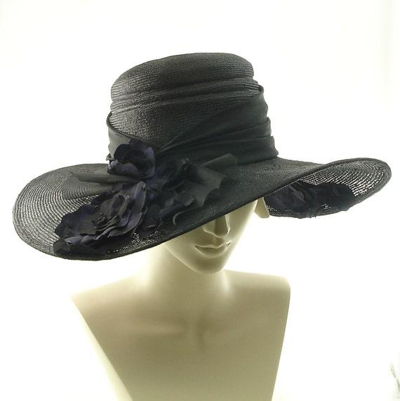 Kentucky Derby Hat For Women - Handmade Wide Brim Straw Hat - Black & Purple Flowers