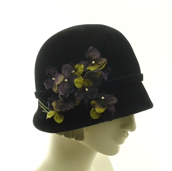 Black Cloche Hat for Women - 1920s Style Fashion Hat - Purple Posies - size SMALL