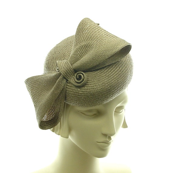 Taupe Cocktail Hat for Women -  Pillbox Hat - Handmade Straw Hat