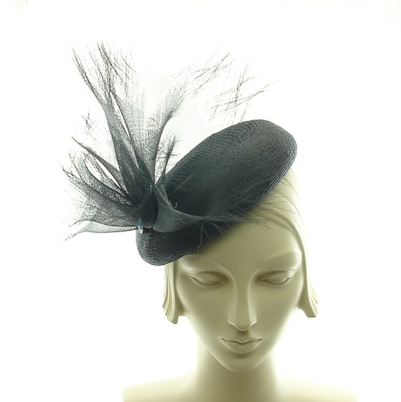 Black Fancy Hat - Straw Cocktail Hat for Women - Reserved for Mara