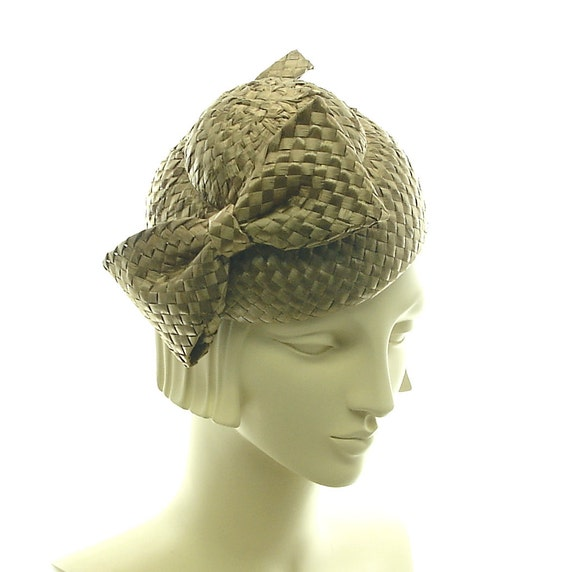 Taupe Racello Straw Cocktail Hat - 1940s Vintage Style Hat