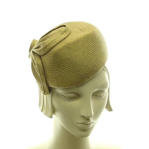 Handmade Hat - Pillbox Hat for Women - Retro Style Straw Cocktail Hat - Womens Dress Hat