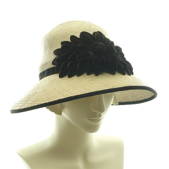 Downton Abbey Cloche Hat for Women - size Large 1920s Fashion Hat - Taupe Panama Straw Hat