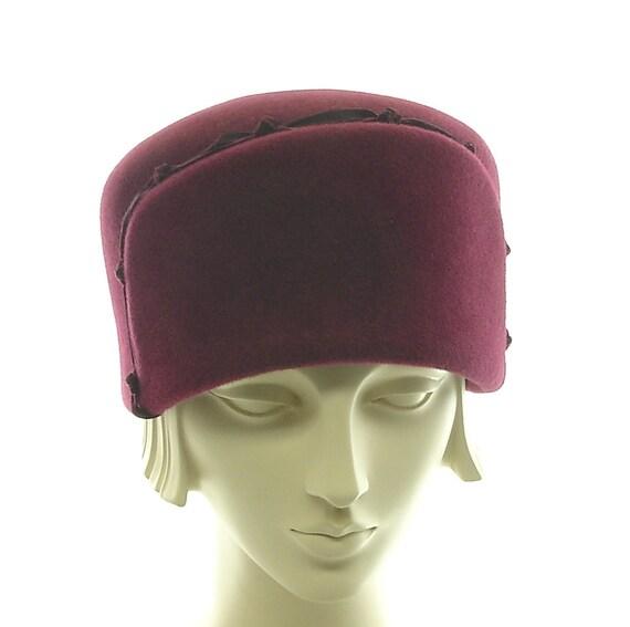 Winter Hat for Women - 1920s Style Trapper Hat - Burgundy Wine Fur Felt Hat