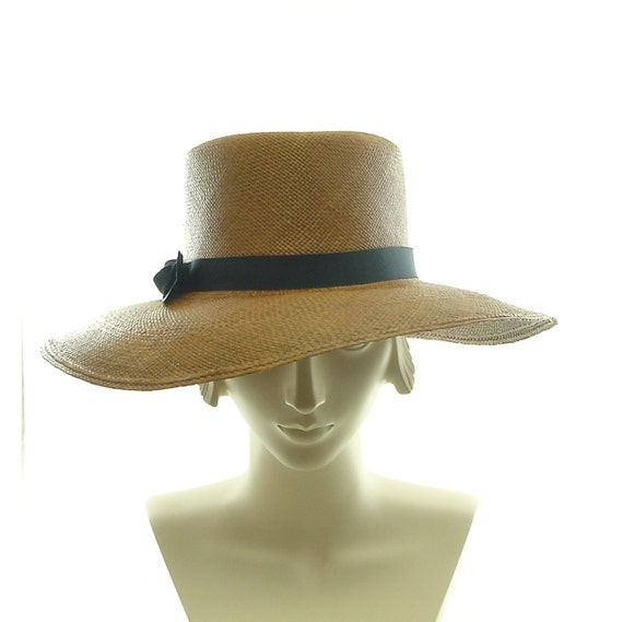 Fedora Sun Hat for Women - 1940s Style Brown Panama Straw Hat