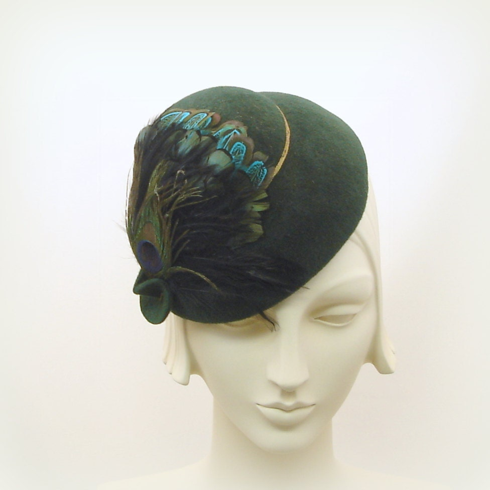 green felt dress hat for 1940s 1950s by themillineryshop