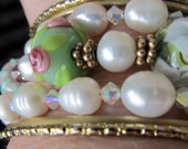 Shabby Chic Bracelet 3 for 28.00 Bridal Jewelry Freshwater Pearl Bracelet Pearl and Crystal Jewlry Pearl Necklace
