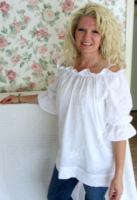 The Peasant Girl Shabby Chic Womens Small White Cotton Peasant Top Embroidered Voile Blouse