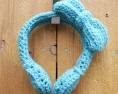 Take This Teal Ribbon Off My Eyes Crocheted Headphones