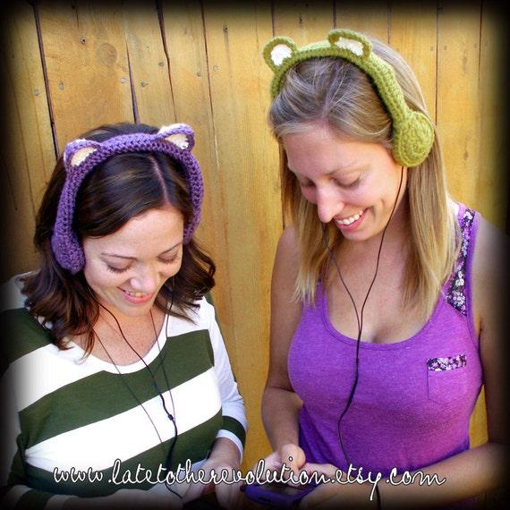 Pea Carebear Crocheted Headphones
