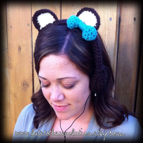 Chocolate Bear w/Teal Bow Crocheted Headphones