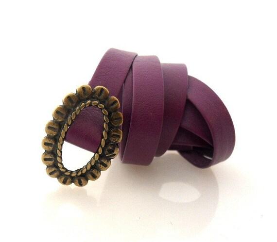 Purple Skinny Belt With Oval Brass Buckle