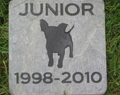 Personalized Pet Memorial Stone Chihuahua & Other Dog Breeds 6 x 6 Inch Slate Memory Stone Burial Grave Maker