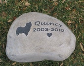 Personalized Dog Pet Memorial Stone Grave Headstone Marker Papillon & other Breeds 8-9 Inch Memorial Burial Stone Marker