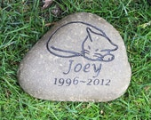 Personalized Cat Pet Memorial Garden Stone - Pet Stone Grave Marker - Burial Stone 7-8 Inches Wide - Natural River Stone