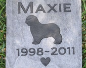 Personalized Pet Memorial Stone Grave Markers Old English Sheepdog & Other Breeds 6 x 6 Inch Memorial Pet Stone Grave Tombstone Marker