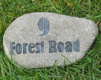 CUSTOM Engraved Address Marker Stone Rock 7-8 Inch Garden Address Maker