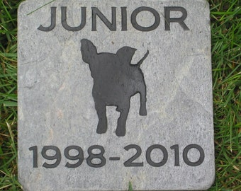 Personalized Pet Memorial Stone Chihuahua Memory Stone Burial Grave Maker 6 x 6 Inch Slate