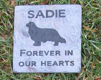Personalized King Charles Spaniel Pet Memorial Pet Stone & Other Breeds 6 x 6 Inch Memorial Headstone Grave Marker