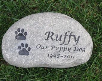 PERSONALIZED Pet Memorial Stone Grave Marker - Memorial Burial Stone Marker 8-9 Inch