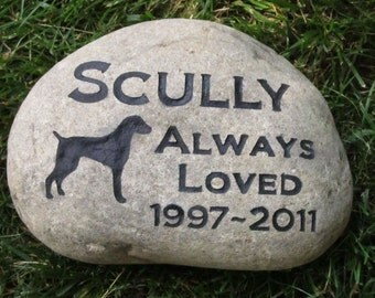 Personalized Dog Memorial Pet Stone Weimaraner & Other Dog Breeds 9 - 10 Inch Pet Stone Memorial Burial Cemetery Stone Grave Marker