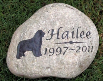 Personalized Pet Memorial Stone Dog Memorials Gravestone Newfie Memorial Cemetery Burial Grave Marker 9-10 Inch