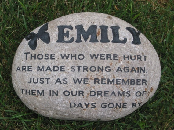 Personalized garden stone memorial memorial by mainlinedesigns for Personalized garden stone