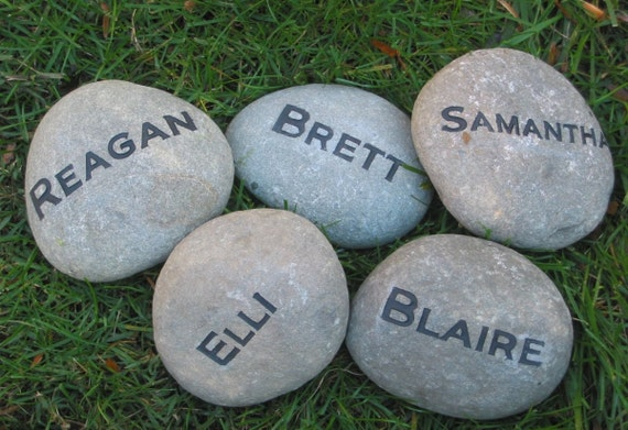 Personalized Engraved River Stones Garden Family Stones 4 5