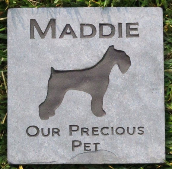 PERSONALIZED Pet Memorial Stone Schnauzer 6 x 6 Inch Memorial Cemetery Burial Stone Grave Marker & other Dog Breeds
